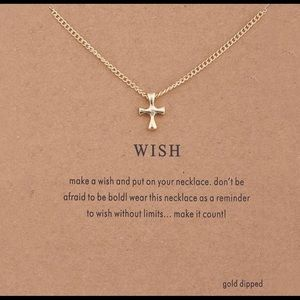 Jewelry - GOLD SMALL MINIMALIST CROSS WISH NECKLACE